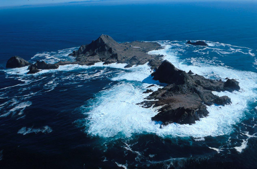 An aerial view of the Farallon Islands