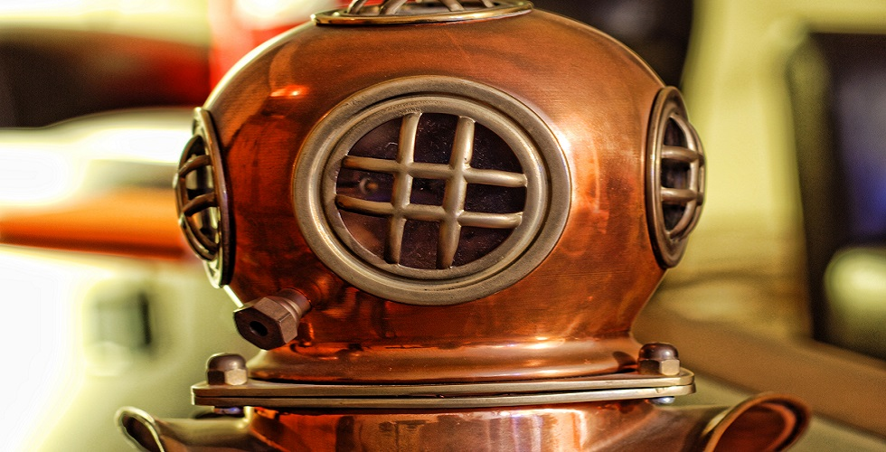 Copper dive helmet