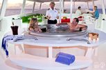 Relaxing at the hot tub on Liveaboard Turks and Caicos Aggressor II